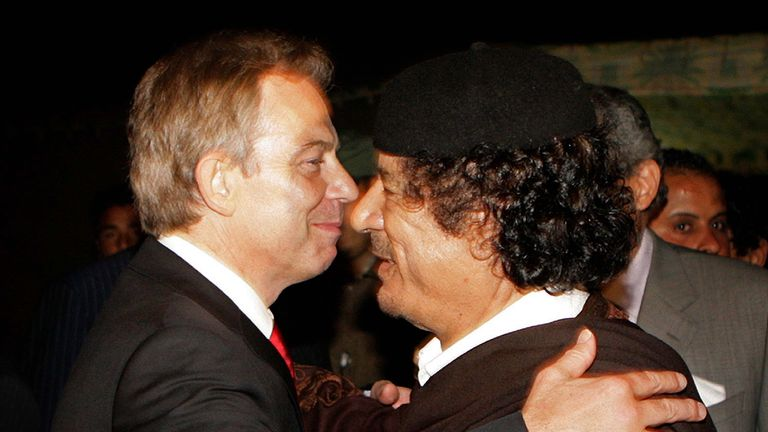 Tony Blair and Colonel Gaddafi in 2007
