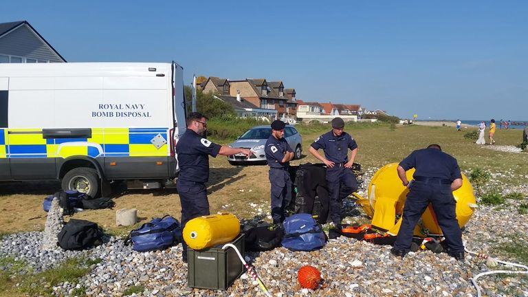 Bomb disposal units prepared to detonate the device. Pic: Royal Navy Bomb Disposal Southern Diving Unit 2.