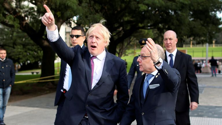 Foreign Secretary Boris Johnson and Argentine Foreign Minister Jorge Faurie