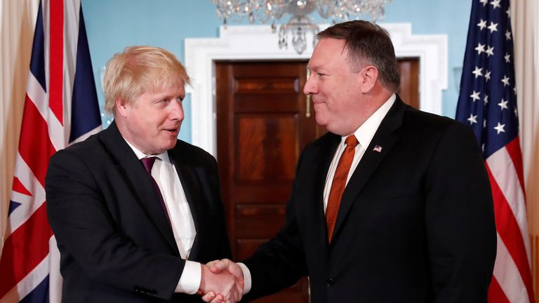 US Secretary of State Mike Pompeo meets with Foreign Secretary Boris Johnson at the State Department
