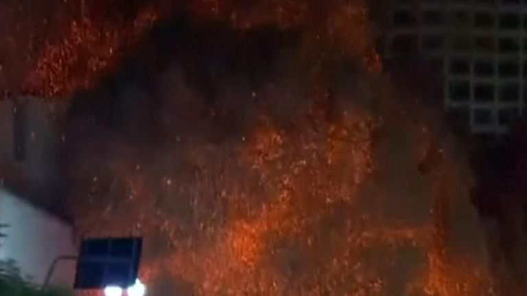 Building collapses in fireball in Brazil