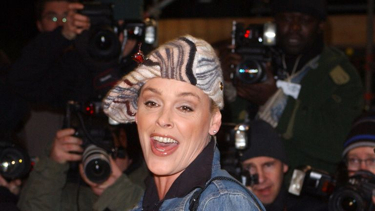Brigitte Nielsen leaving the Celebrity Big Brother house in 2005.