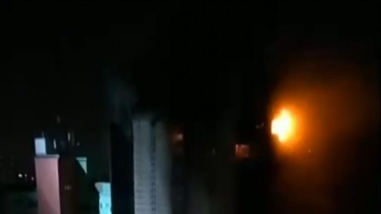 A fire ripped through two buildings in Sao Paulo, on Tuesday, May 1, causing part of one to collapse. Firefighters cordoned off the area around the blaze in Largo do Paissandu.