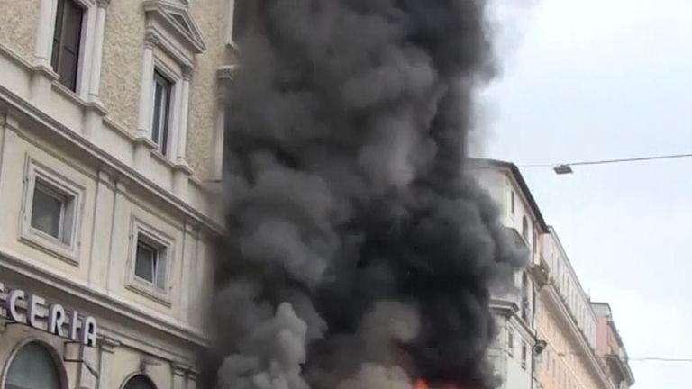 Bus bursts into flames in Rome