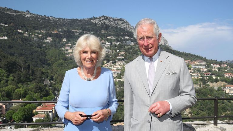 The Prince of Wales and Duchess of Cornwall during a visit to Eze Village, Nice,