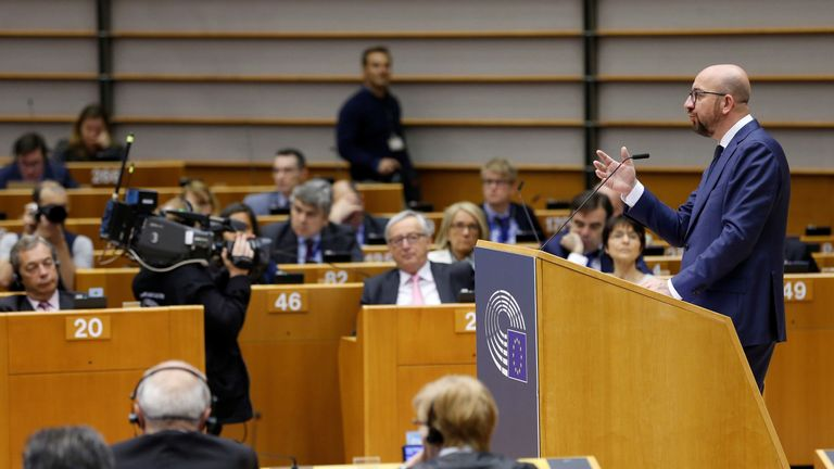 Belgian Prime Minister Charles Michel addresses the European Parliament in Brussels