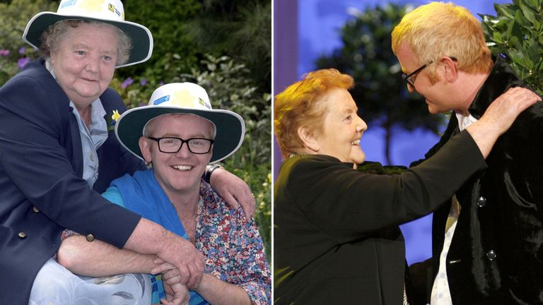 (L) Chris Evans with his mother in 2000 (Pic: Richard Young/Rex) and in 2006