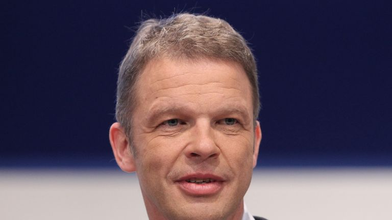 Christian Sewing, new CEO of Germany's largest lender Deutsche Bank, is pictured during his company's annual shareholders' meeting in Frankfurt am Main, western Germany, on May 24, 2018