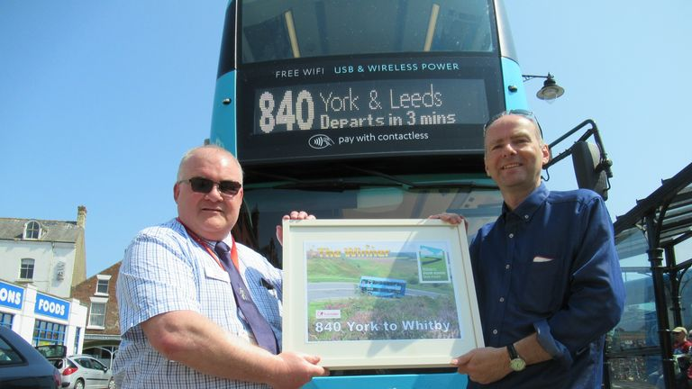 Poll creator Paul Kirby presented the winners' certificate to Coastliner's General Manager Colin Booth at Whitby bus station