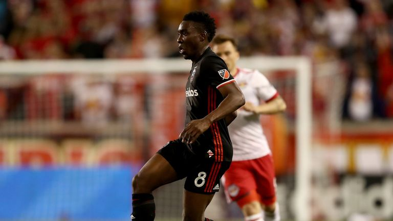 HARRISON, NJ - APRIL 15: Lloyd Sam #8 of D.C. United takes the ball in the second half against the New York Red Bulls at Red Bull Arena on April 15, 2017 in Harrison, New Jersey. (Photo by Elsa/Getty Images)