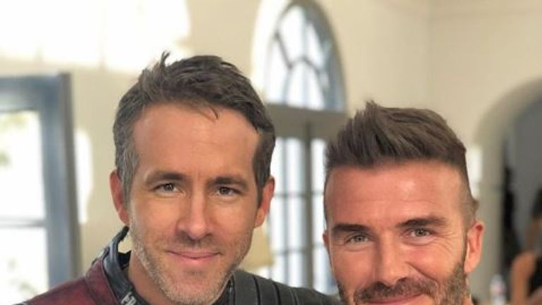"Ryan Reynolds posted this picture, calling David Beckham a legend and ""truly one of the greats"". Pic: Ryan Reynolds/Instagram"