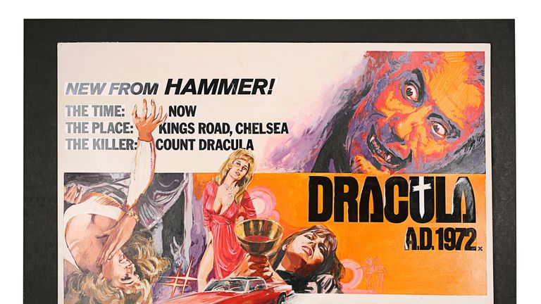 Undated handout photo issued by Prop Store of a Dracula AD 1972 poster, which is among hundreds of sought-after posters going under the hammer
