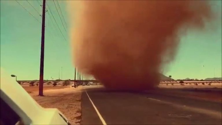 A dust devil chased a motorist in Scottsale, Arizona, on Tuesday, May 29.