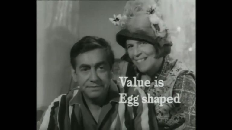 Tony Hancock with Patricia Hayes advertising the benefits of eggs
