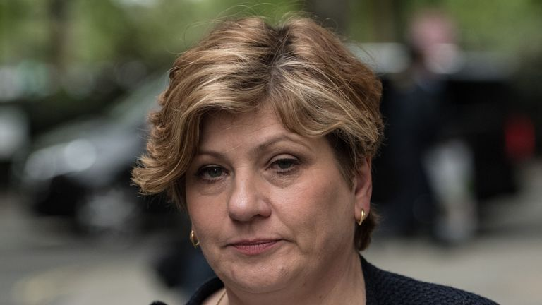 LONDON, UNITED KINGDOM - MAY 05: Shadow Foreign Secretary Emily Thornberry leaves Millbank Studios on May 5, 2017 in London, England. Following the local elections, the Conservative Party have gained control of seven councils overnight while Labour have lost ground, on a night of contrasting fortunes for parties in the local polls. (Photo by Carl Court/Getty Images)