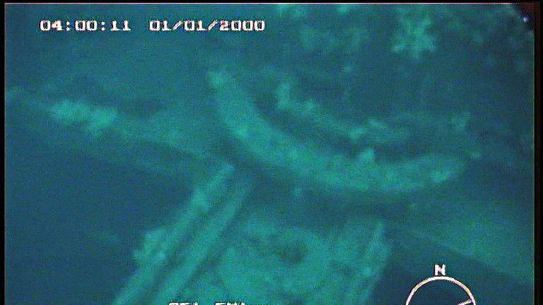 An image from the submersible Gavia shows the remains of the Empire Wold