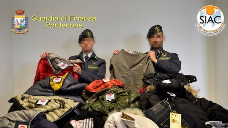 Counterfeit goods are being sold via 'social media shops'. Pic: Europol/GdF