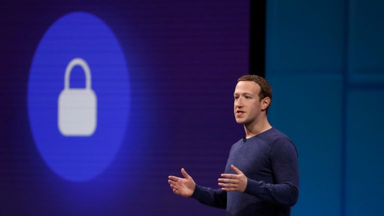 Mark Zuckerberg speaks at Facebook F8 developers conference in San Jose, California