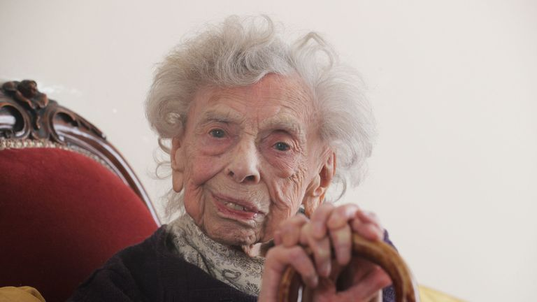 Florence Kirkby, 96, at her home in Newcastle