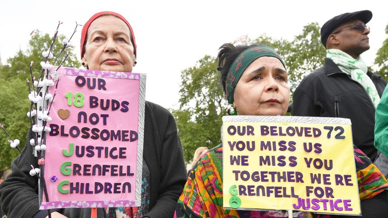 Protesters called for justice for the Grenfell victims ahead of the inquiry