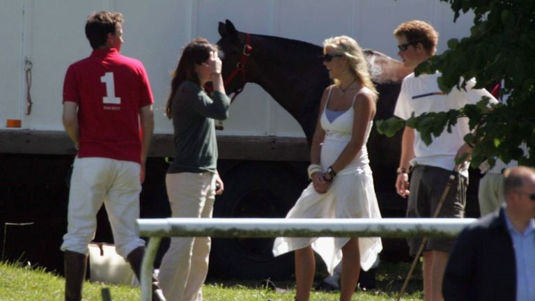 Chelsy Davy and Harry attend a polo match in 2006