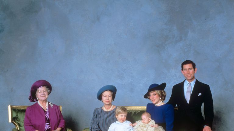 The Queen Mother, the Queen, William, Harry, Diana and Charles