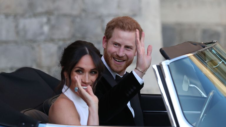 The newly married Duke and Duchess of Sussex, Meghan Markle and Prince Harry, leaving Windsor Castle after their wedding to attend an evening reception at Frogmore House, hosted by the Prince of Wales. PRESS ASSOCIATION Photo. Picture date: Saturday May 19, 2018. See PA story ROYAL Wedding. Photo credit should read: Steve Parsons/PA Wire