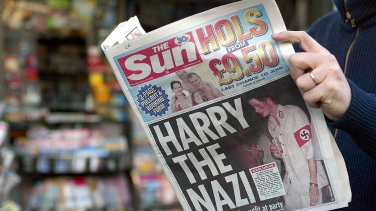 The Sun carried pictures of Harry wearing a Nazi uniform in 2005