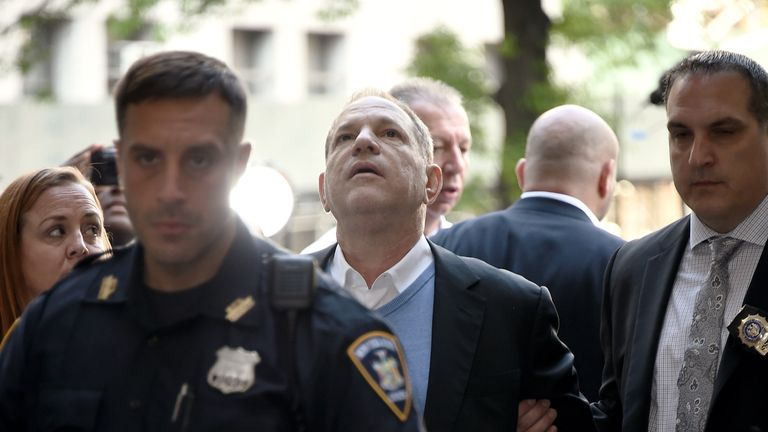 Harvey Weinstein arrives at Manhattan Criminal Courthouse in handcuffs