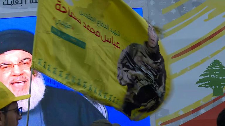 Hezbollah leader Hassan Nasrallah addressed supporters in the Bekaa Valley via video link