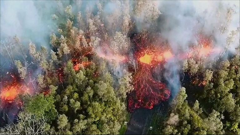 The Hawaii Volcano Observatory said on May 3 that a 492-foot fissure erupted with lava near the Leilani Estates, in Puna, Hawaii. The lava flowed for several yards before stopping, the observatory said.