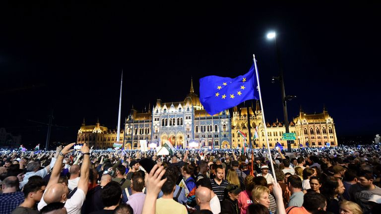 People protest against the policies of Hungarian Prime Minister Viktor Orban's government
