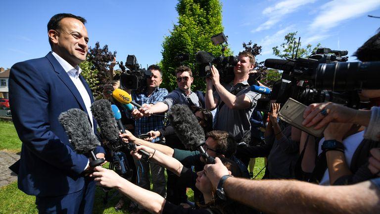 Taoiseach, Leo Varadkar, leaves after casting his vote in Irelands abortion referendum