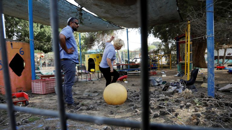 A kindergarten yard that Israel says was damaged by mortar shells