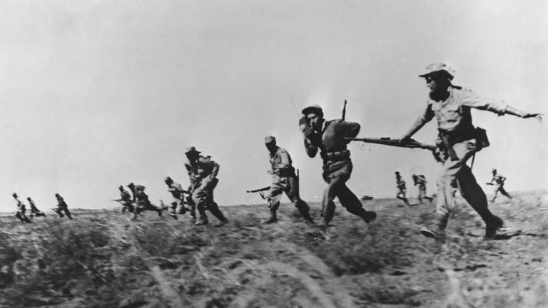 Israeli infantry making a full assault on Arab forces in 1948
