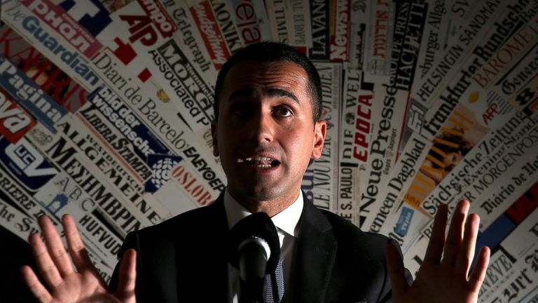 Anti-establishment 5-Star Movement leader Luigi Di Maio gestures during a news conference at the Foreign Press Club in Rome, Italy, March 13, 2018.