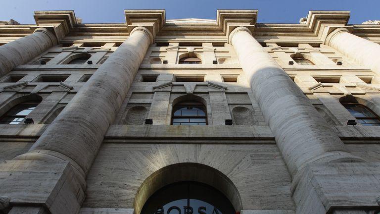 A general view of Palazzo Mezzanotte, head office of the Borsa Italiana (Milan Stock Exchange) on November 17, 2011 in Milan, Italy.