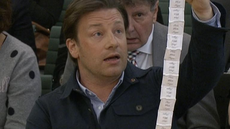 Jamie Oliver ponders the amount of sugar in soft drinks before the 'sugar tax' was implemented