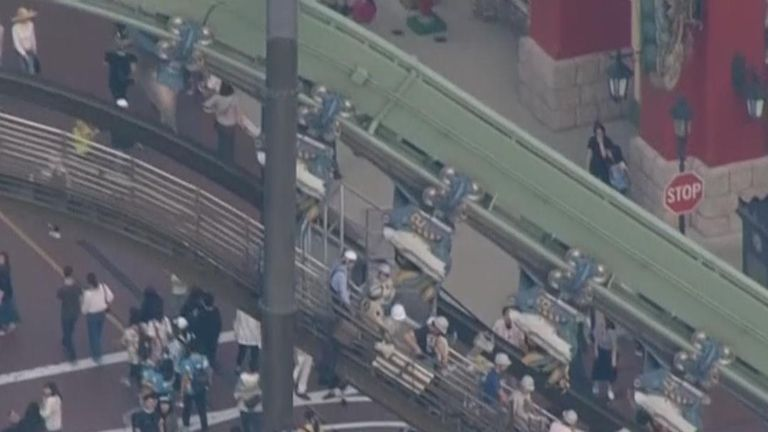 Rollercoaster leaves more than 60 people stranded in mid-air in Japan