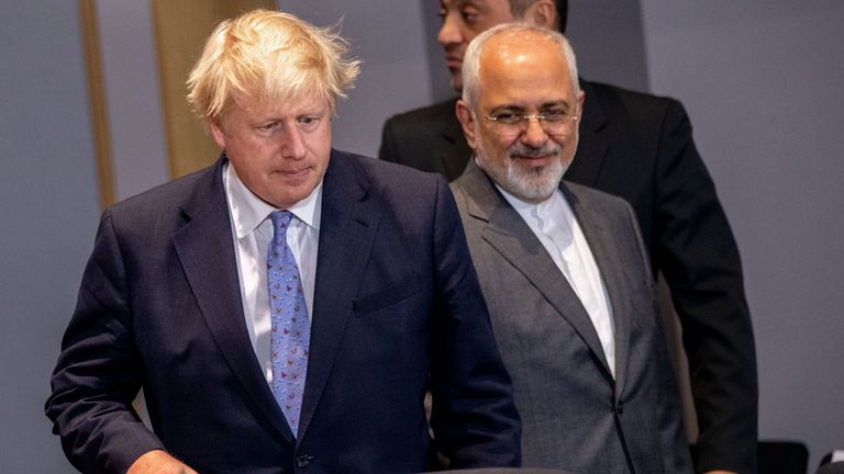 Iran's Foreign Minister Mohammad Javad Zarif and Britain's Foreign Secretary Boris Johnson