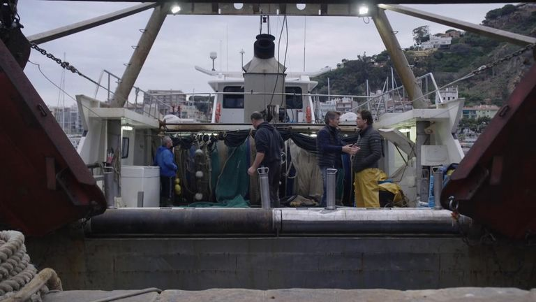 Javier Bardem on a Spanish fishing boat