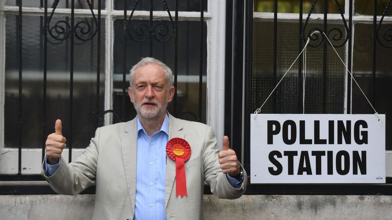 Labour leader Jeremy Corbyn arrives to cast his vote at a polling station in London