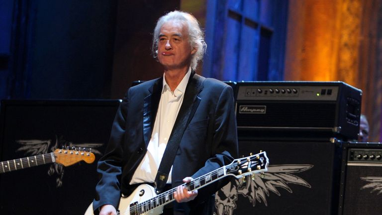 Jimmy Page performs onstage during the 24th Annual Rock and Roll Hall of Fame Induction Ceremony