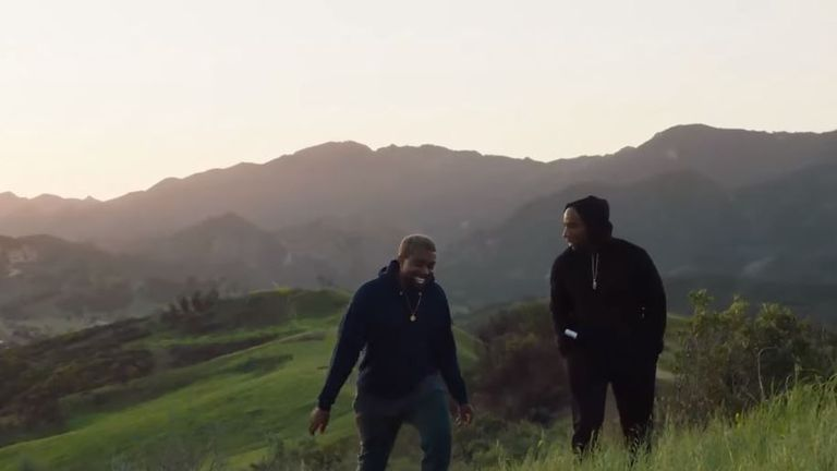 Kanye and Charlemagne Tha God on his land. Pic: Kanye West