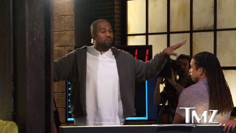 Kanye West told the TMZ newsroom he had been addicted to opiods after getting liposuction. Pic: TMZ.com