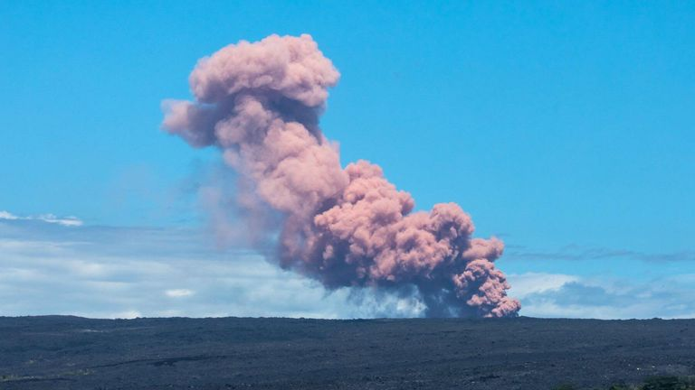 An ash cloud rises above Kilauea Volcano after it erupted, on Hawaii's Big Island. Pic: Jeremiah Osuna/via REUTERS