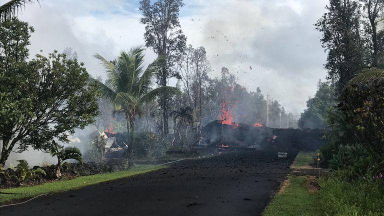 Kilauea volcano in Hawaii has spewed lava onto this street. Pic: US Geological Survey