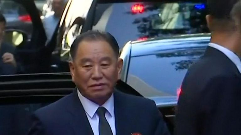 North Korean official Kim Yong Chol is seen arriving in New York