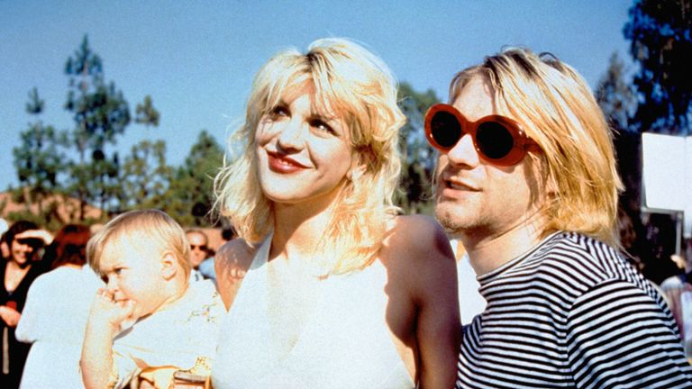 Kurt Cobain and Courtney Love with their daughter Frances Bean at the 1993 MTV Video Music Awards ceremony