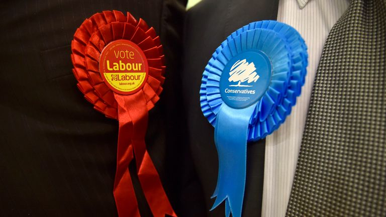 Conservative Party and Labour Party rosettes